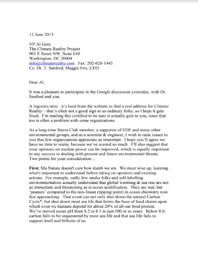 Gore Letter 2013