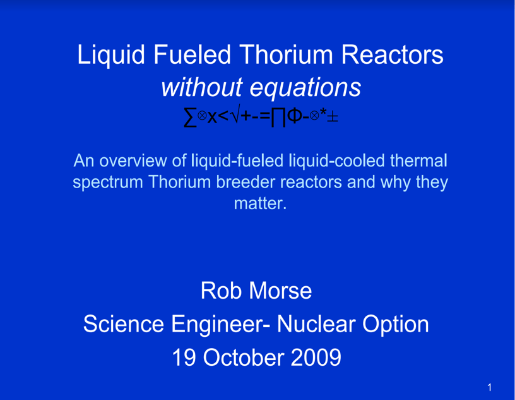 LFTR Without Equations Rob Morse TEAC1