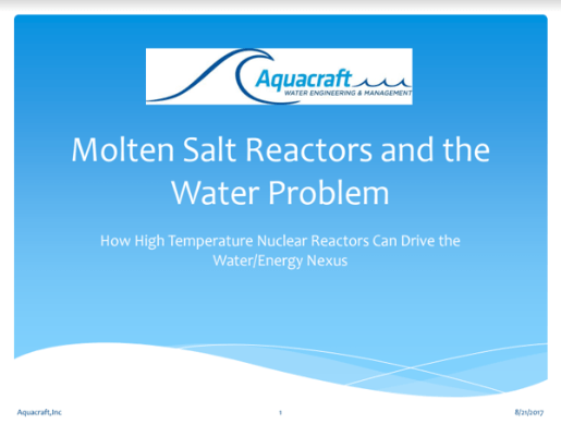 Molten Salt Reactors and the Water Problem