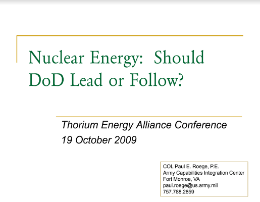 Nuclear Energy DoD Lead or Follow Roege