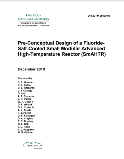 SmAHTR Report ORNL TM 2010 199