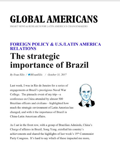 The Strategic Importance of Brazil – R Evan Ellis
