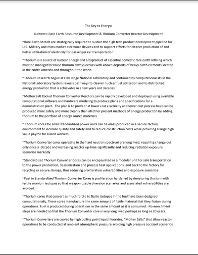 Thorium Energy Alliance 4 Pager 12-11-10