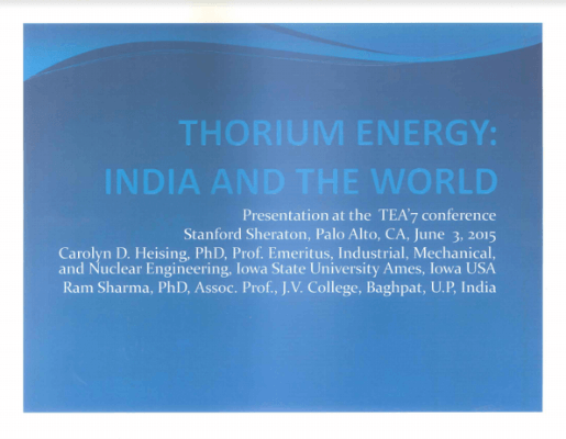 Thorium Energy C. Heising and Sharma TEAC 7