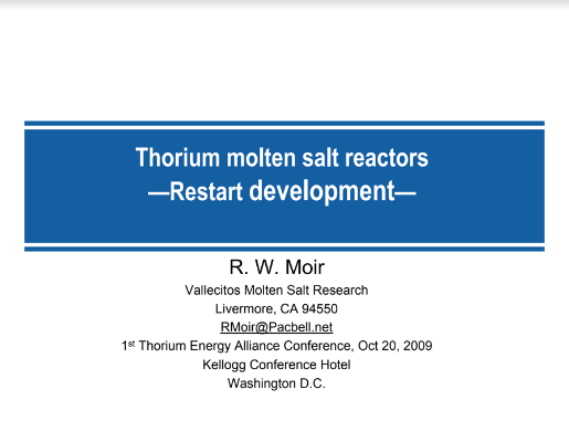 Thorium MSR Restart Development Moir TEAC1