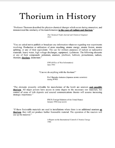 Thorium in History