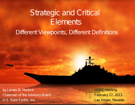 USRE Strategic and Critical Elements Jan 17, 2013