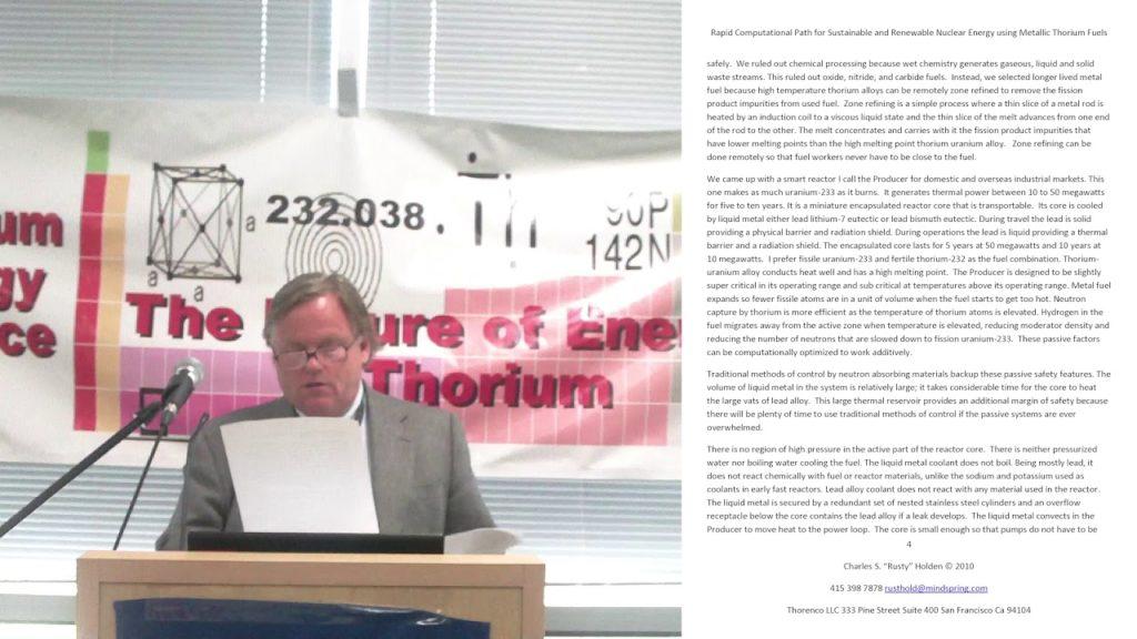 "Charles ""Rusty"" Holden – Rapid Computational Path For Nuclear Energy Using Metallic Thorium TEAC 2"