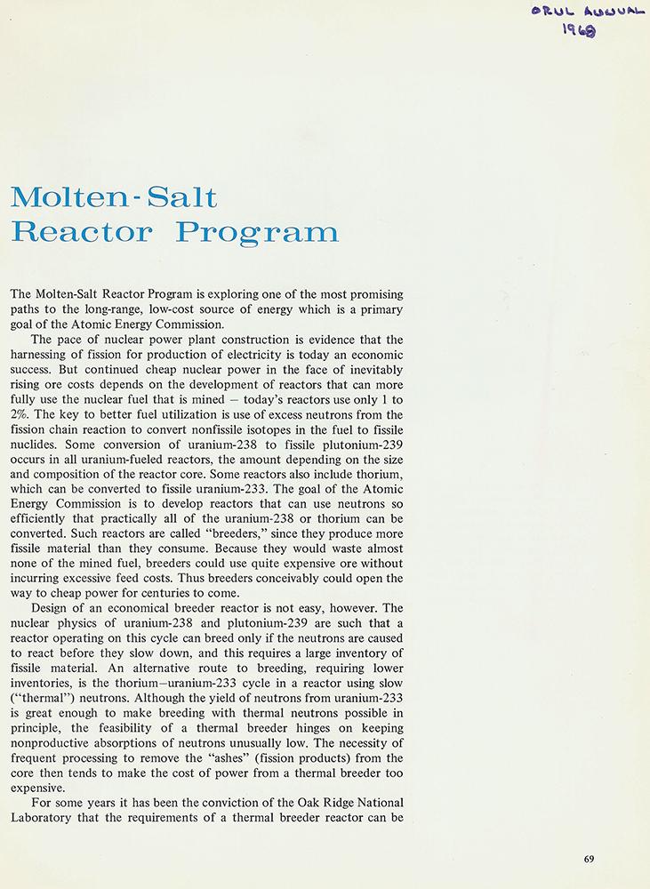 MSRE Booklet 1968