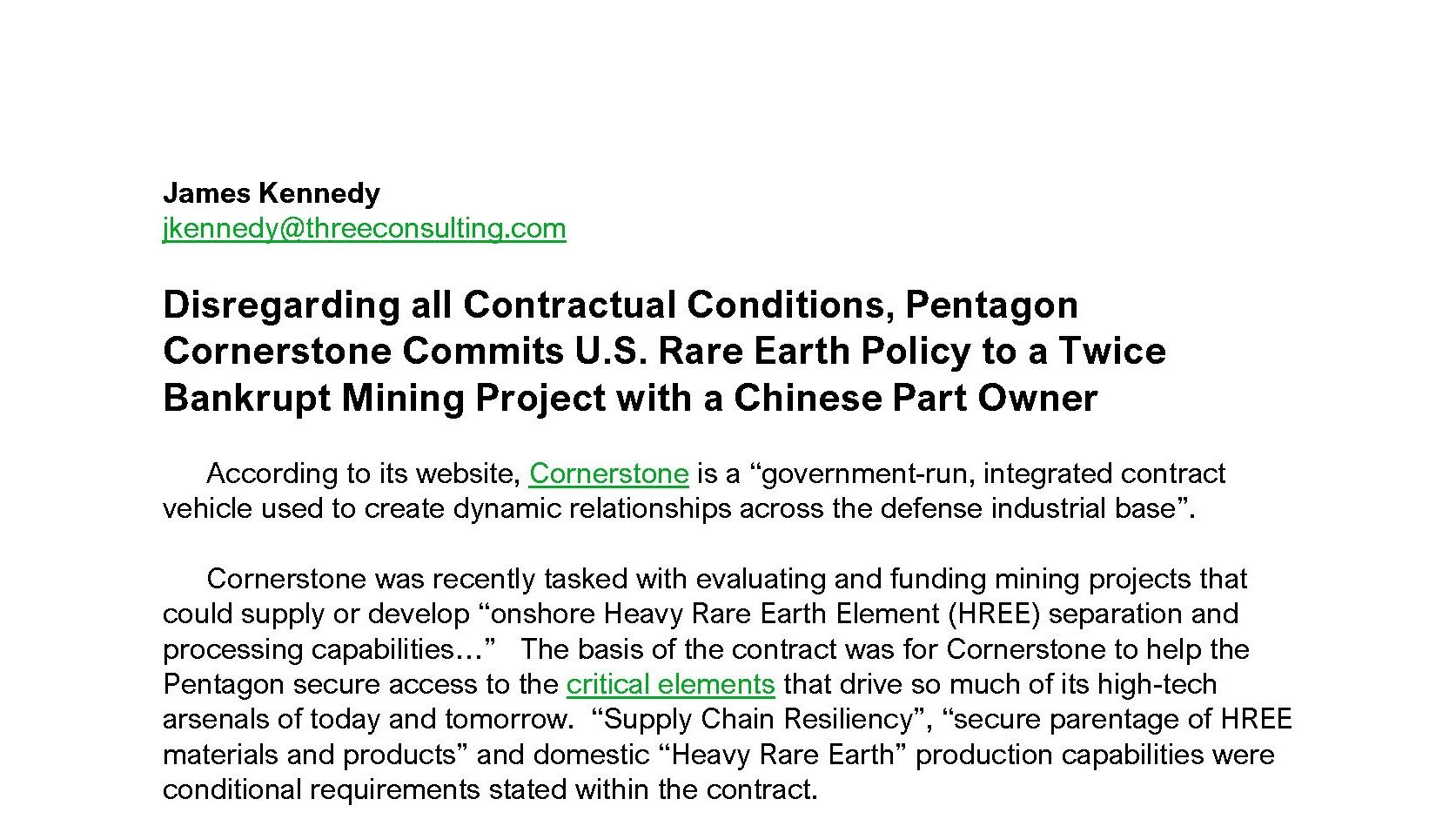 On Rare Earths, Pentagon Cornerstone is Making the Same Mistake Twice
